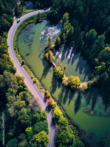 Landscape scenery of pond by road at Abramtsevo, Sergiyev Posad, Russia
