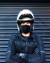 Portrait Of Male Biker Wearing...