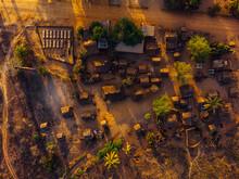 Aerial Zenith View Of Rural Village In Morondava, Madagascar