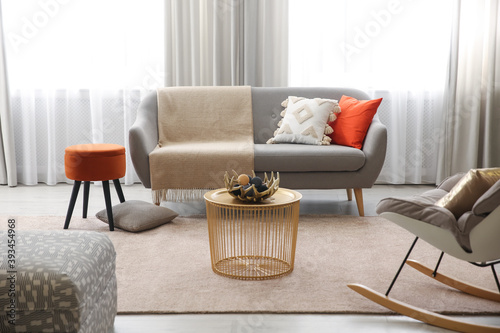 Cozy living room interior inspired by autumn colors