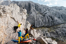 Active Group Of Five Climbers ...