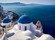 Famous Blue Dome Church In Oia...