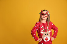 Cute Little Girl In Christmas ...