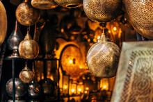 Golden Beautiful Lams In Street Shop