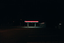 Bright Gas Station Glowing In ...