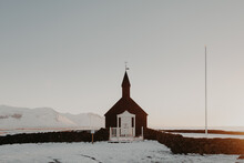 Small Church In Snowy Countryside