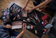 Assortment Of Makeup Brushes A...