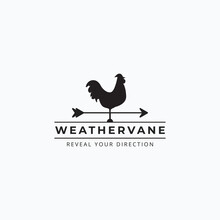 Vector Of Vintage Rooster Weathervane Logo Illustration Design