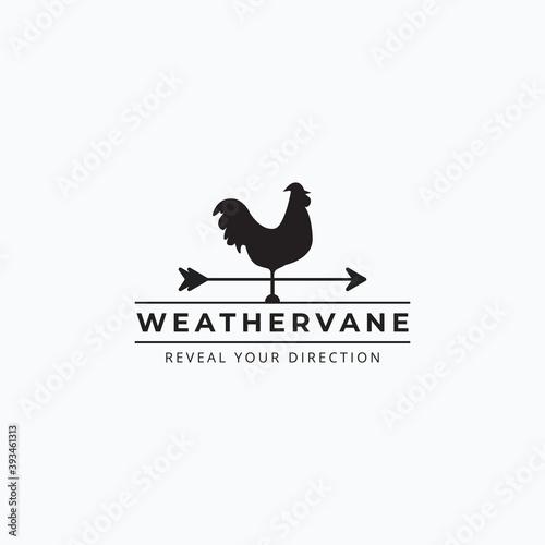 Canvas Print Vector of vintage rooster weathervane logo illustration design