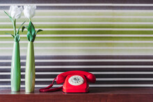 Retro Fashioned Phone And Flowers On Table