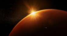 Spaceship Orbiting Mars At Dawn. Mission To Mars