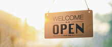 """Open"" On Cafe Or Restaurant Hang On Door At Entrance.after Covid-19,new Nor Mal,new Life Style"