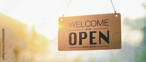 """""""Open"""" on cafe or restaurant hang on door at entrance.after covid-19,new nor mal,new life style"""