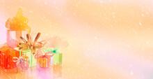 Horizontal Background Gifts Colors Snow Bows Ribbon Holiday Celebration Orange