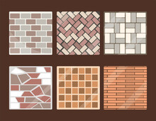 Set Of Pavements And Tiles Squ...