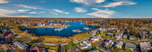Aerial Panorama View Of Edgewater Maryland Almshouse Creek South River Marina With Luxury Sail Boats Turquoise Water, Popular Retirement Community Near Annapolis