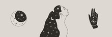 Set Of Mystical Woman And Moon, Stars And Hand In A Trendy Boho Style. Vector Space Portrait Of A Girl In Profile For Wall Print, T-shirt, Tattoo Design, For Social Media Post And Stories