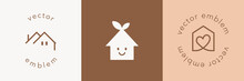 Vector Label Design Template Set With House Icon