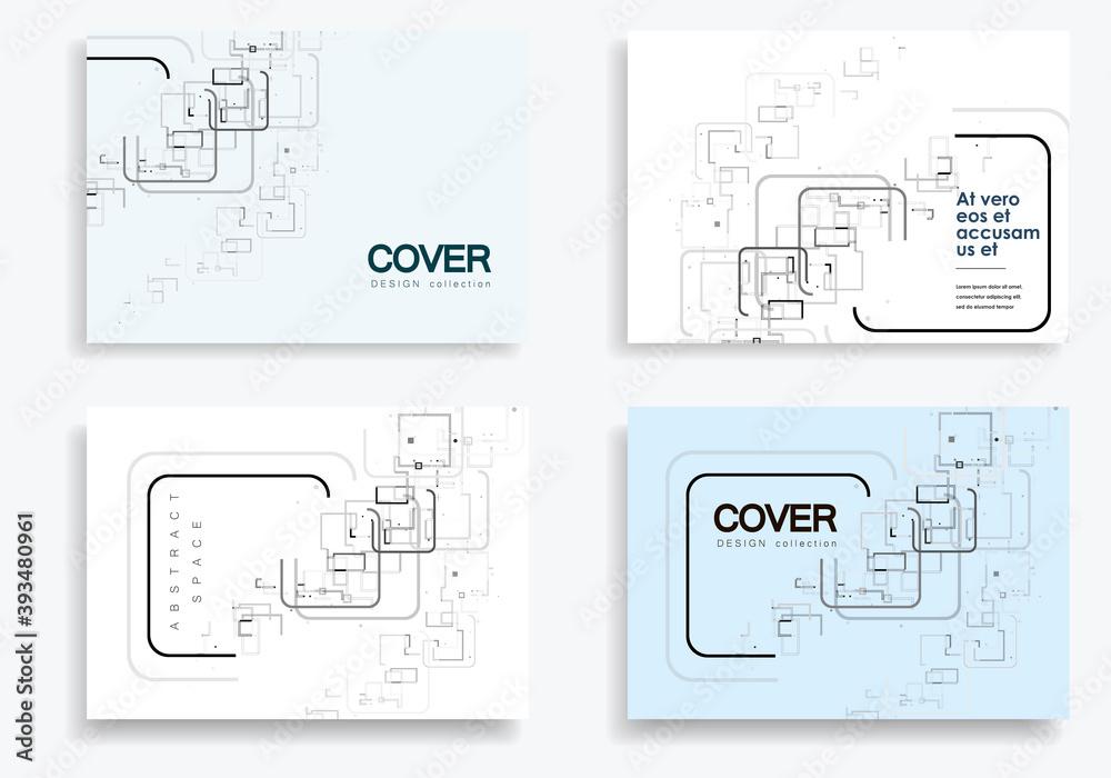Fototapeta Vector grey abstract pattern on brochure template