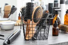 Professional Hairdresser Brushes In Salon