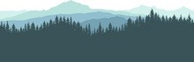 Forest And Mountains, Silhouette. Beautiful Landscape, Nature. Spruce Trees Are Separated From Each Other. Vector Illustration.