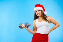 Santa Claus Woman Lifting Dumbbells