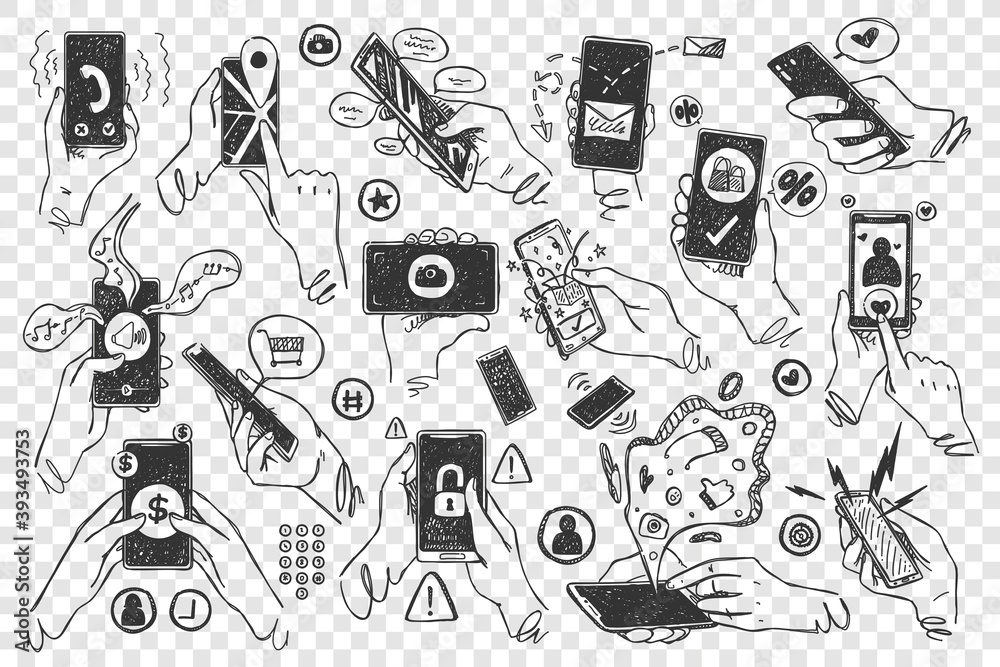 Fototapeta Hands with smartphones doodle set. Hand drawn human palms hold mobile phones touchscreen application on transparent background. Communication social media networking illustration for web site design.