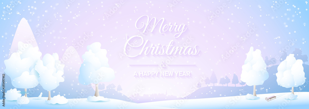Fototapeta Merry Christmas winter snowy landscape with mountains, village and trees silhouette illustration banner