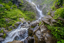 View Of The Wild Waterfall Of The Mountain River In The Caucasus. Forest River Wild Landscape. Jets Of Clean Cold Water Wash Over The Stones. Primordial Nature.