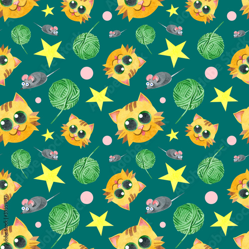 Seamless pattern with a funny cat, a ball of thread, a gray mouse. Creative children's texture. Watercolor illustrations on a green background. For fabric, textiles, websites, wallpaper, packaging.