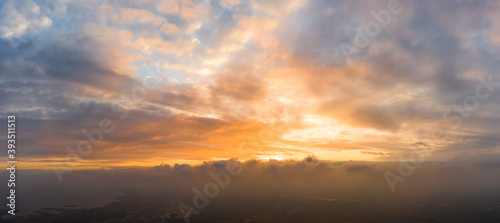 Fototapety, obrazy: Bright and intense Panorama twilight cloudy sky. Evening background image