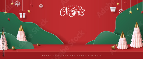 Merry Christmas banner studio table room product display