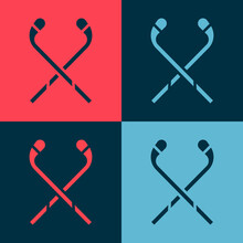Pop Art Ice Hockey Sticks Icon...