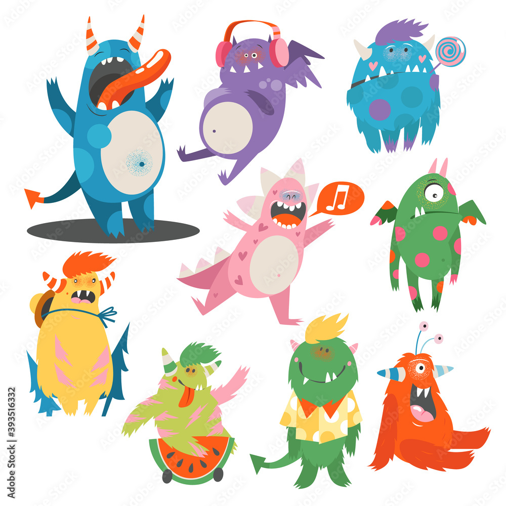 Fototapeta Comic Monsters with Horns and Wings Listening to Music and Having Fun Vector Set