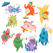 Comic Monsters with Horns and Wings Playing Trumpet and Having Fun Vector Set