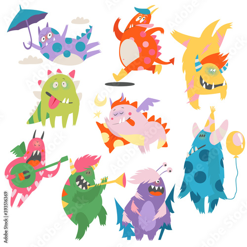 Obraz Comic Monsters with Horns and Wings Playing Trumpet and Having Fun Vector Set - fototapety do salonu
