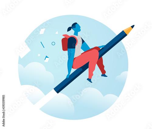 Fotografija Ragazzo che vola sulla matita