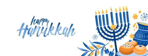Panel Szklany Boks Jewish traditional holiday Hannukah background. Religious festive symbols vector illustration. Menorah, pitta bread, hummus. Shabbat, judaic feast congratulation calligraphic inscription.