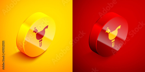 Fotografía Isometric Candy cockerel lollipop on a stick icon isolated on orange and red background