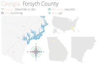 Large And Detailed Map Of Forsyth County In Georgia, USA.