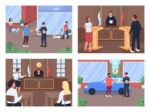Legal Procedure Flat Color Vector Illustration Set. Trial With Attorney And Judge. Police Officer Give Penalty. Law Enforcement And Witness 2D Cartoon Characters With Court Interior On Background Pack