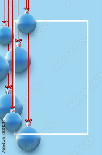 Vertical frame with blue christmas tree balls hanging on red ribbons.