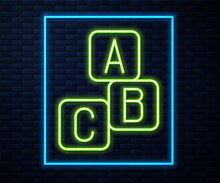 Glowing Neon Line ABC Blocks Icon Isolated On Brick Wall Background. Alphabet Cubes With Letters A,B,C. Vector.