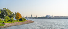 Landscape Of St. Petersburg Embankment Peter And Paul Fortress, Strelka Vasil'yevskogo Ostrova And St. Isaac's Cathedral
