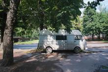 Nice Classic Vintage Dirty Rusty Van In The Street
