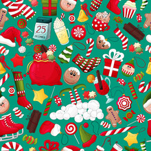Christmas And New Year Pattern. Colorful Winter Holiday Background With Traditional Xmas Element. Vector Christmas Icons Food And Decoration Symbols. Many Types Winter Theme Objects. Festive Wallpap