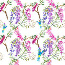 Watercolor Illustration. Seamless Pattern With Wisteria And Hummingbird Flowers. Seamless Design For Fabric, Background, Paper, Etc.