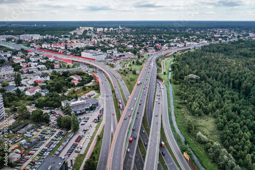 Obraz Drone aerial view of Trasa Siekierkowska route and Ostrobramska Street in Warsaw, capital of Poland - fototapety do salonu