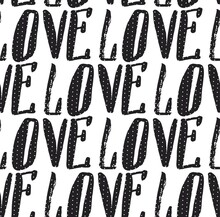 Hand Made Vector Abstract Calligraphy Seamless Pattern With Handwritten Love Word Isolated On White Background.Design For Valentines Day.Save The Date Concept.Polka Dot Texture