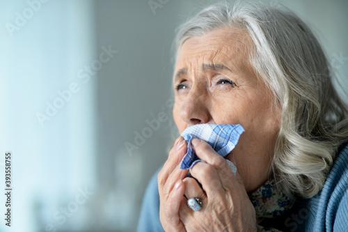 Papel de parede Portrait of a cute sad ill senior woman